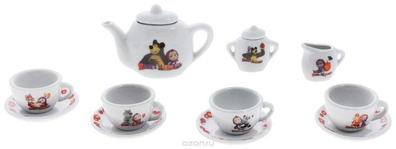 Играем вместе Игровой набор посуды Маша и Медведь 11 предметов цвет белый
