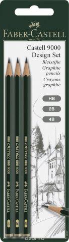 Faber-Castell Чернографитовый карандаш Castell 9000 HB 2B 4B 3 шт