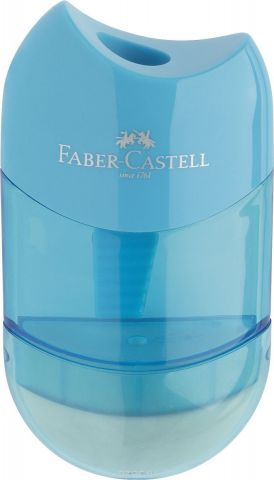 Faber-Castell Точилка-мини с контейнером и ластиком цвет голубой