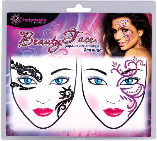 Partymania Украшение-стикер для лица Beauty Face 2 шт цвет черный розовый