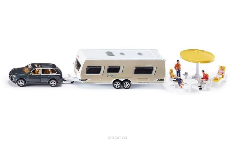 Siku Игровой набор Машина с домом на колесах Porsche Cayenne Turbo