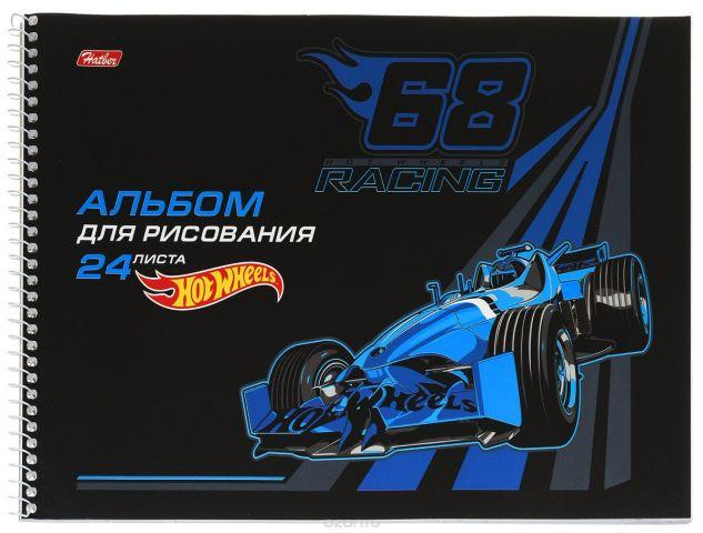 Hatber Альбом для рисования Hot Wheels 24 листа цвет черный синий