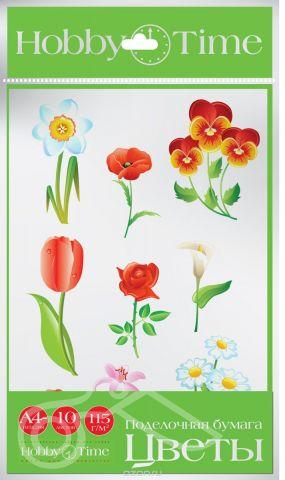 Альт Набор цветной бумаги Цветы 10 листов