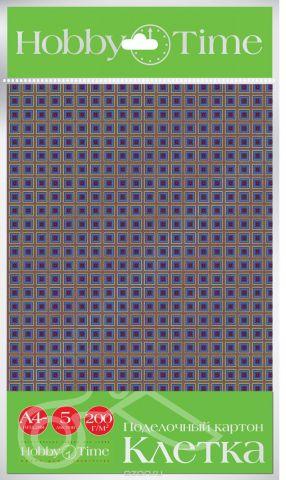Альт Набор цветного картона Клетка 5 листов