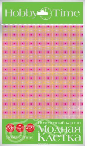 Альт Набор цветного картона Клетка пастельная 5 листов