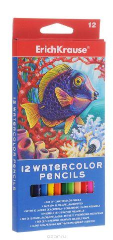 Erich Krause Набор цветных акварельных карандашей с кисточкой 12 шт