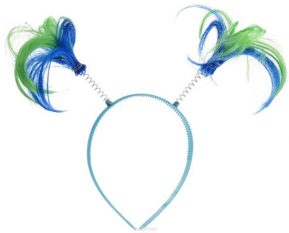 """Ободок маскарадный Феникс-Презент """"Пеппи"""", цвет: голубой, синий, салатовый"""