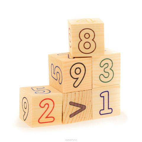 Развивающие деревянные игрушки Кубики Цифры счет
