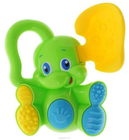 Bondibon Погремушка Слоненок с прорезывателем цвет салатовый желтый