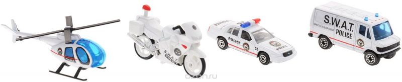 "Welly Игровой набор ""Служба спасения: Полиция"", 4 предмета"