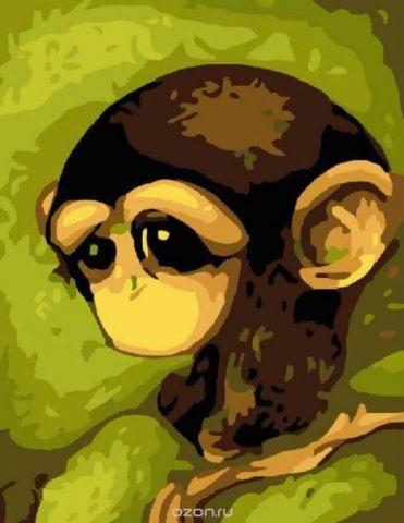"""Набор для рисования по номерам Цветной """"Грустная обезьянка"""", 30 x 40 см"""