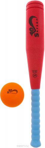 Safsof Игровой набор Бейсбольная бита и мяч цвет красный голубой оранжевый
