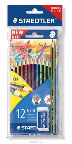 Staedtler Набор цветных карандашей Wopex 12 цветов с чернографитным карандашом 180 30-НВ и ластиком