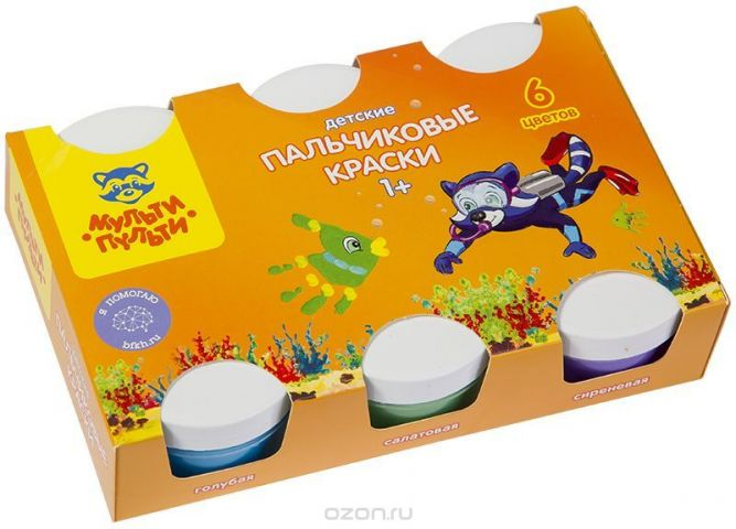 Мульти-Пульти Краски пальчиковые для малышей Морские приключения Енота 6 цветов