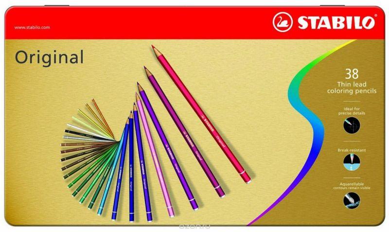 STABILO Набор цветных карандашей с тонким грифелем Original 38 цветов