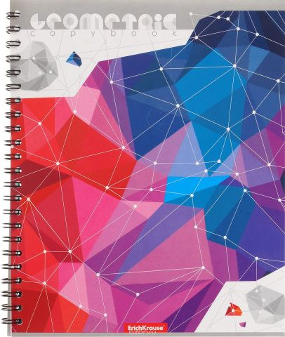 Erich Krause Тетрадь Геометрика 60 листов в клетку цвет красный синий фиолетовый