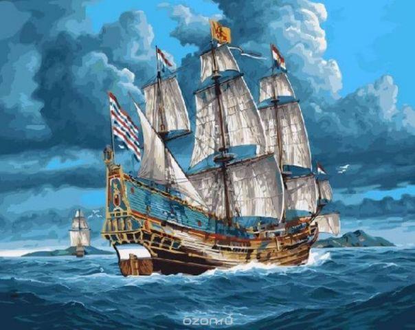 """Набор для рисования по номерам Цветной """"Парусник в открытом море"""", 40 х 50 см"""