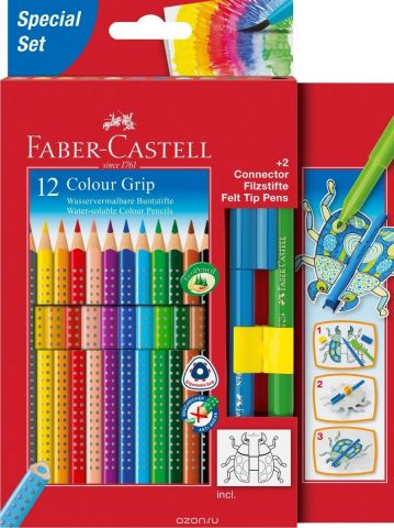 Faber-Castell Набор цветных карандашей Grip 2001 12 цветов + 2 фломастера Connector