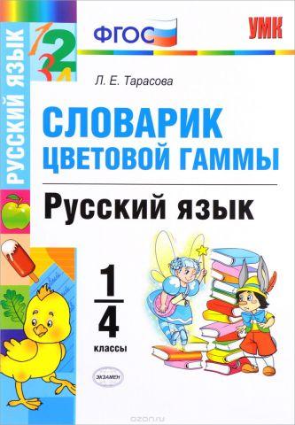 Русский язык. 1-4 классы. Словарик цветовой гаммы