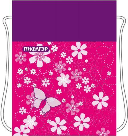 Пифагор Сумка для детской обуви Бабочки цвет розовый