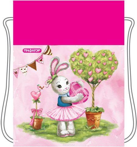Пифагор Сумка для детской обуви Зайка цвет розовый