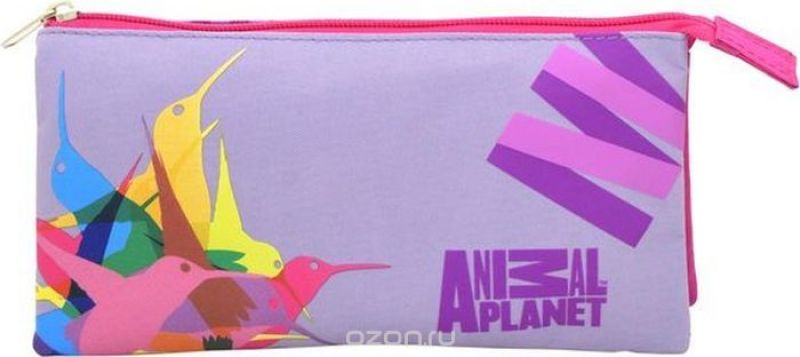 Action! Пенал Animal Planet Колибри цвет розовый фиолетовый
