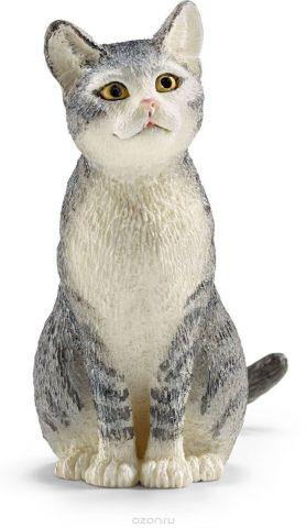 Schleich Фигурка Кошка цвет серый белый