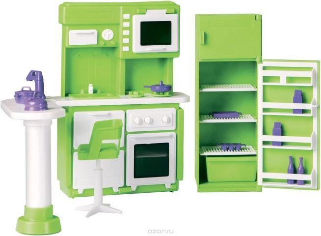 Огонек Набор мебели для кукол Кухня Конфетти цвет зеленый