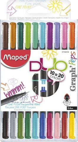 Maped Набор ручек капиллярных Graph Peps Duo двусторонние 20 цветов 10 шт