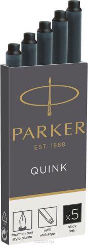 Parker Картридж с чернилами для перьевой ручки QUINK LONG цвет черный 5 шт
