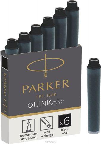 Parker Картридж-мини с чернилами для перьевой ручки QUINK SHORT цвет черный 6 шт