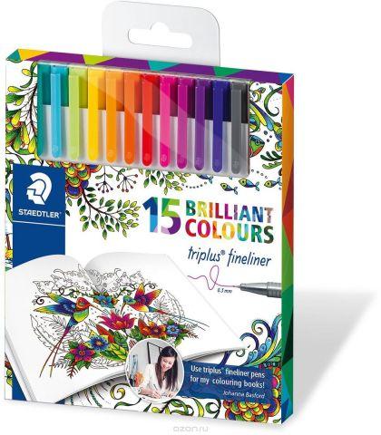 Staedtler Набор капиллярных ручек Triplus 334 Яркие цвета 15 цветов