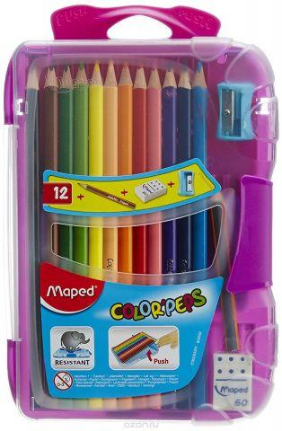 Maped Набор цветных карандашей Colorpeps 12 шт цвет пенала фиолетовый