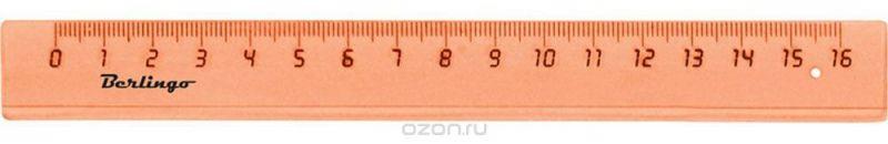 Berlingo Линейка цвет прозрачный оранжевый 16 см