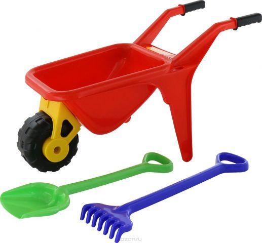 Полесье Набор игрушек для песочницы Тачка Садовод с лопатой и граблями