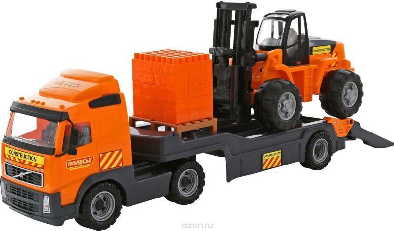 Полесье Трейлер Volvo + автокар + конструктор Супер-Микс 30 элементов 1572