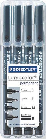 Staedtler Набор перманентных маркеров Lumocolor 4 шт 31-9WP4GS
