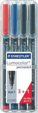 Staedtler Набор перманентных маркеров Lumocolor 318 F 4 шт