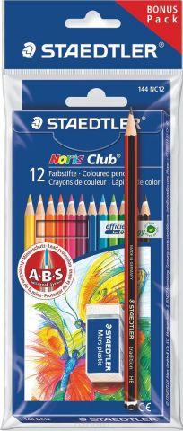 Staedtler Набор цветных карандашей Noris Club 144 NC 12 цветов с ластиком 61SET510