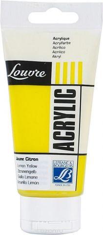 "Краска акриловая Lefranc & Bourgeois ""Louvre"", цвет: желтый лимонный (169), 80 мл"