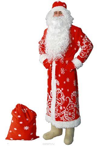 """Карнавальный костюм Sima-land """"Дед Мороз"""": шуба, шапка, варежки, пояс, мешок, цвет: красный. Размер 48/50"""