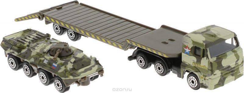 ТехноПарк Набор машинок Транспортер КамАЗ с бронетехникой 2 шт