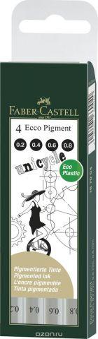 Faber-Castell Набор капиллярных ручек Ecco Pigment цвет чернил черный 4 шт