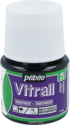 Pebeo Краска для стекла и металла Vitrail лаковая прозрачная цвет 050-025 фиолетовый 45 мл