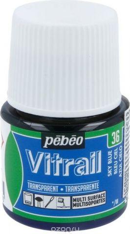 Pebeo Краска для стекла и металла Vitrail лаковая прозрачная цвет 050-036 небесно-голубой 45 мл