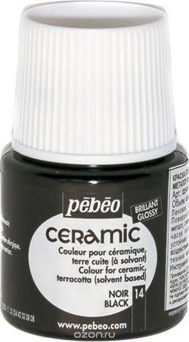 Pebeo Краска по керамике и металлу Ceramic цвет 14 черный 45 мл