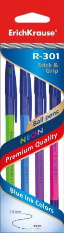 Erich Krause Набор шариковых ручек R-301 Neon 0.7 Stick&Grip 4 шт 42023