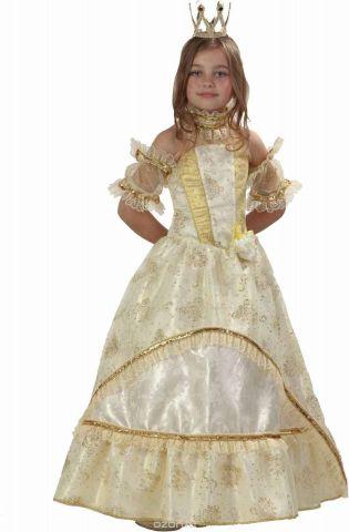 Батик Карнавальный костюм для девочки Золушка-Принцесса цвет золотой желтый белый размер 30