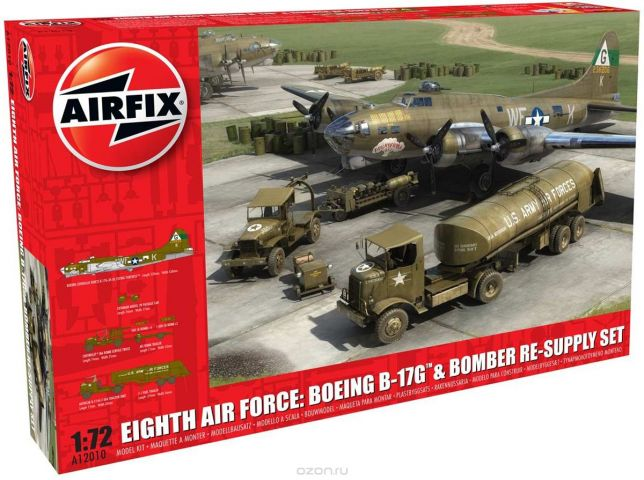 Airfix Модель военного самолета Boeing B-17G + Eighth Air Force Resupply Set