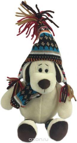 Teddy Мягкая игрушка Собака в шапке 18 см